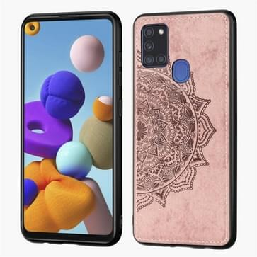 Voor Samsung Galaxy A21s Mandala Reliëf Doek Cover PC + TPU mobiele telefoon geval met magnetische functie en handband (Rose Gold)