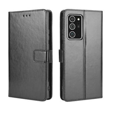 Voor Samsung Galaxy Note20 Ultra Retro Crazy Horse Texture Horizontale Flip Lederen case met Holder & Card Slots & Lanyard(Zwart)