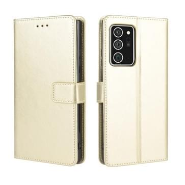 Voor Samsung Galaxy Note20 Ultra Retro Crazy Horse Texture Horizontale Flip Lederen case met Holder & Card Slots & Lanyard(Goud)