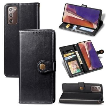 Voor Samsung Galaxy Note 20 Retro Solid Color Leather Buckle Phone Case met Lanyard & Photo Frame & Card Slot & Wallet & Stand Functie(Zwart)