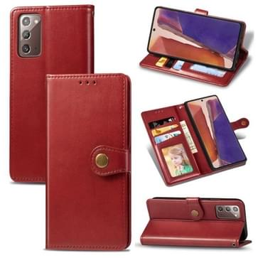 Voor Samsung Galaxy Note 20 Retro Solid Color Leather Buckle Phone Case met Lanyard & Photo Frame & Card Slot & Wallet & Stand Functie(Rood)