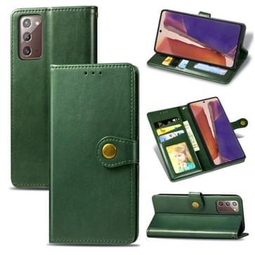 Voor Samsung Galaxy Note 20 Retro Solid Color Leather Buckle Phone Case met Lanyard & Photo Frame & Card Slot & Wallet & Stand Functie(Groen)