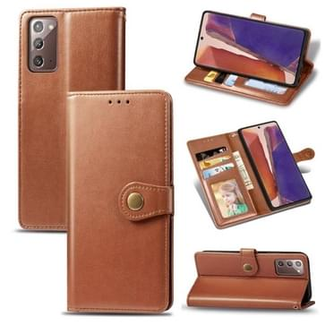 Voor Samsung Galaxy Note 20 Ultra Retro Solid Color Leather Buckle Phone Case met Lanyard & Photo Frame & Card Slot & Wallet & Stand Functie(Bruin)