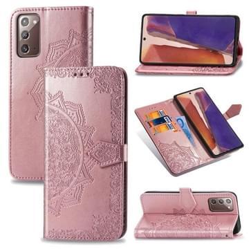 Voor Samsung Galaxy Note20 Ultra Halverwege Mandala Reliëf Patroon Horizontaal Flip Lederen Hoesje met Holder & Card Slots & Wallet & Lanyard(Rose Gold)