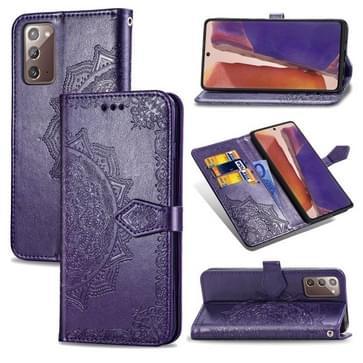 Voor Samsung Galaxy Note20 Ultra Halverwege Mandala Reliëf Patroon Horizontaal Flip Lederen Hoesje met Holder & Card Slots & Wallet & Lanyard(Paars)