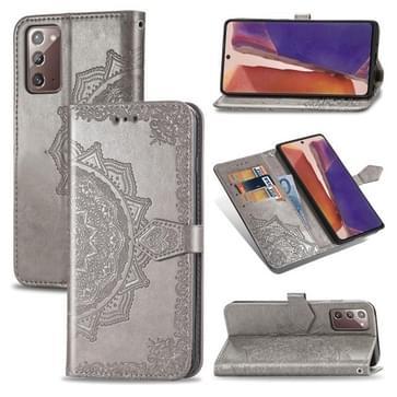 Voor Samsung Galaxy Note20 Ultra Halverwege Mandala Reliëf Patroon Horizontaal Flip Lederen Hoesje met Holder & Card Slots & Wallet & Lanyard(Grijs)