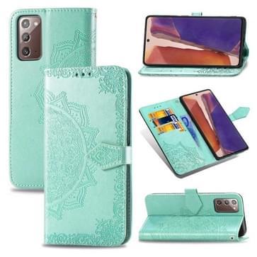 Voor Samsung Galaxy Note20 Ultra Halverwege Mandala Reliëf Patroon Horizontaal Flip Lederen Hoesje met Holder & Card Slots & Wallet & Lanyard(Groen)