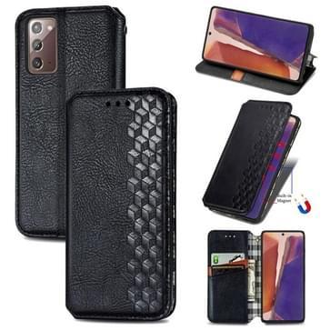 Voor Samsung Galaxy Note 20 Cubic Grid Geperst horizontal flip magnetische PU lederen case met houder & kaartslots & portemonnee(zwart)