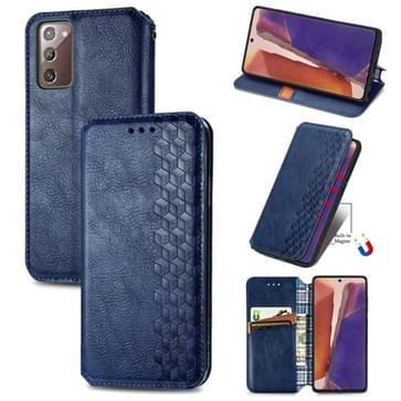 Voor Samsung Galaxy Note20 Ultra Cubic Grid Geperst horizontal flip magnetische PU lederen case met houder & kaartslots & portemonnee(blauw)