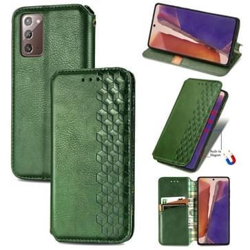 Voor Samsung Galaxy Note20 Ultra Cubic Grid Geperst horizontal flip magnetische PU lederen case met Holder & Card Slots & Wallet(Groen)