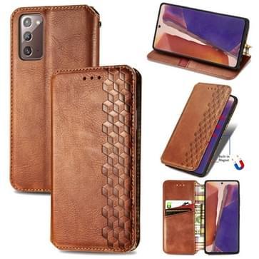 Voor Samsung Galaxy Note20 Ultra Cubic Grid Geperst horizontal flip magnetische PU lederen case met Holder & Card Slots & Wallet(Brown)