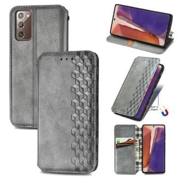 Voor Samsung Galaxy Note20 Ultra Cubic Grid Geperst horizontal flip magnetische PU lederen case met houder & kaartslots & portemonnee(grijs)