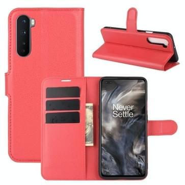 Voor OnePlus Nord Litchi Texture Horizontale Flip Beschermhoes met Houder & Card Slots & Wallet(Rood)