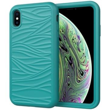 Voor iPhone XR Wave Pattern 3 in 1 Siliconen+PC Schokbestendige beschermhoes (Donkergroen)
