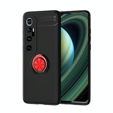Voor Xiaomi Mi 10 Ultra Metal Ring Holder 360 graden roterende TPU case (Zwart+Rood)