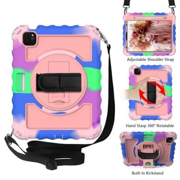 Voor iPad Air 2020 10.9 360 Graden Rotatie PC + Siliconen Schokbestendige Combinatiecase met Holder & Hand Grip Strap & Neck Strap & Pen Slothouder (Kleurrijk+Rosé Goud)(Kleurrijk+Rosé Goud)(Kleurrijk+Rosé Goud)(Kleurrijk+Rosé Goud)