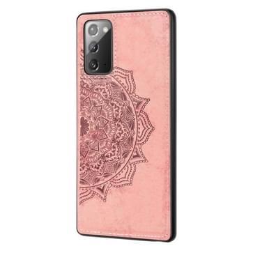 Voor Samsung Galaxy Note 20 Mandala Reliëf Doek + PC + TPU mobiele telefoon case met magnetische functie & handband (Rose Gold)