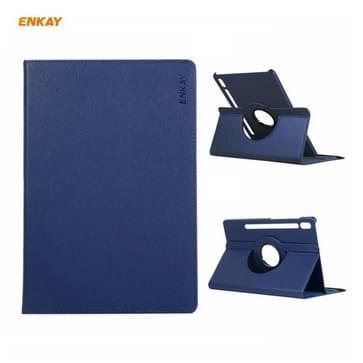 ENKAY voor Samsung Galaxy Tab S7 11.0 T870 / T875 ENK-8012 360 Graden Rotatie Litchi Textuur Horizontale Flip PU Lederen Smart Case met houder & slaap / Wake-up (Donkerblauw)