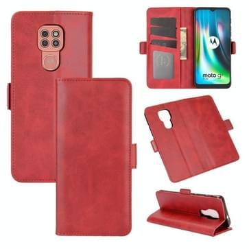 Voor Motorola Moto G9 / G9 Play Dual-side Magnetic Buckle Horizontale Flip Lederen Case met Holder & Card Slots & Wallet(Rood)