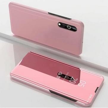 Voor Xiaomi Redmi 9A Plated Mirror Horizontale Flip Lederen Case met houder (Rose Gold)