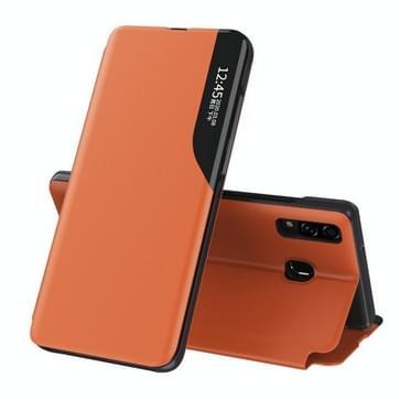 Voor Samsung Galaxy A10S Side Display Magnetic Shockproof Horizontale Flip Lederen behuizing met houder(oranje)