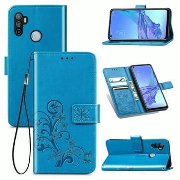 Voor Oppo A53 2020 Vierbladige gesp in reliëf Gesp Mobiele telefoon beschermhoes met Lanyard & Card Slot & Wallet & Bracket Functie(Blauw)