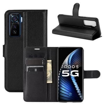 Voor de Vivo iQOO 5 5G Litchi Texture Horizontale Flip Beschermhoes met Holder & Card Slots & Wallet(Zwart)