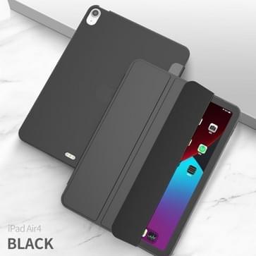 Voor iPad Air 2020 10.9 Drievouwende Surface PU Leather TPU Matte Soft Bottom Case met Holder & Sleep / Wake-up Function(Zwart)