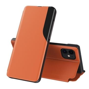 Side Display Magnetic Shockproof horizontale flip lederen hoes met houder voor iPhone 11(Oranje)