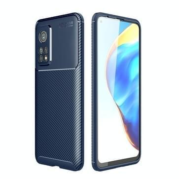 Voor Xiaomi Mi 10T Pro Carbon Fiber Texture Schokbestendige TPU Case (Blauw)