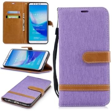 Color Matching Denim Texture Leather Case for Huawei Y9 2018 & Enjoy 8 Plus   with Holder & Card Slots & Wallet & Lanyard(Purple)