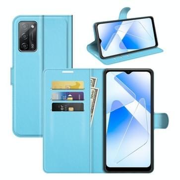 Voor OPPO A55 5G Litchi Textuur Horizontale Flip Beschermhoes met Houder &Amp; Kaart Slots &Portemonnee (Blauw)