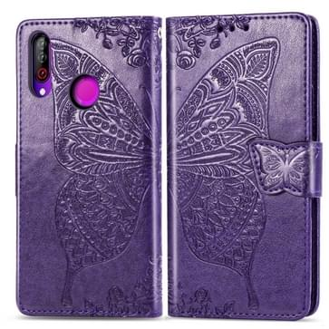 Butterfly Love Flowers Embossing Horizontal Flip Leather Case For LG W30  with Holder & Card Slots & Wallet & Lanyard(Dark Purple)