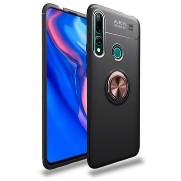 Metalen ringhouder 360 graden roterende TPU-behuizing voor Huawei Y9 Prime 2019 (Zwart+Rosé Goud)