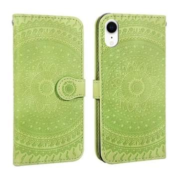 Voor iPhone XR ingedrukt afdrukken patroon horizontale Flip PU lederen draagtas  met houder & kaartsleuven & portemonnee & & Lanyard (groen)