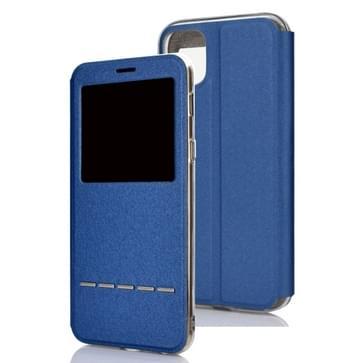 Voor iPhone 11 Pro Max matte textuur horizontale Flip beugel mobiele telefoon holster venster met beller-ID en metalen knop dia te ontgrendelen (blauw)