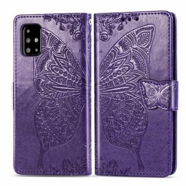 Voor Galaxy A51 Butterfly liefde bloem reliëf horizontale Flip lederen draagtas met beugel/kaartsleuf/portemonnee/Lanyard (donker paars)