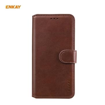 Voor Samsung Galaxy A21 ENKAY Hat-Prince horizontale flip lederen hoes met Holder & Card Slots & Wallet(Brown)