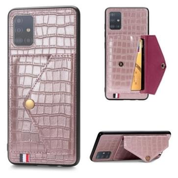 Voor Galaxy A51/ M40s Crocodile Pattern PU+TPU+PVC Shatter-resistant Mobile Phone Case with Magnetic Invisible Holder & Card Slots(Rose Gold)