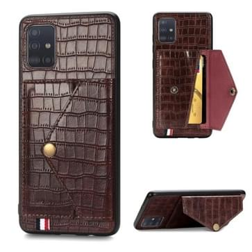 Voor Galaxy A51/ M40s Crocodile Pattern PU+TPU+PVC Shatter-resistant Mobile Phone Case with Magnetic Invisible Holder & Card Slots(Brown)