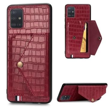 Voor Galaxy A51/ M40s Crocodile Pattern PU+TPU+PVC Shatter-resistant Mobile Phone Case with Magnetic Invisible Holder & Card Slots(Red)