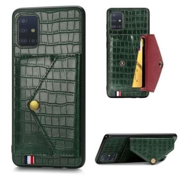 Voor Galaxy A51/ M40s Crocodile Pattern PU+TPU+PVC Shatter-resistant Mobile Phone Case with Magnetic Invisible Holder & Card Slots (Blackish Green)