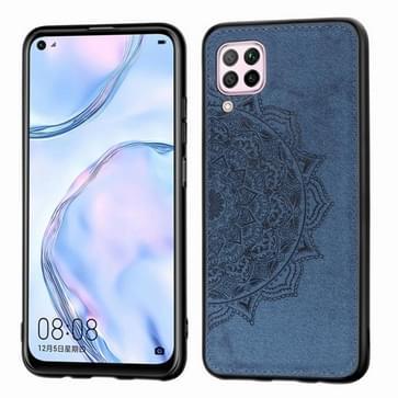 Voor Huawei P40 Lite/Nova 7i/Nova 6se Mandala Reliëf Doek Cover PC + TPU mobiele telefoon case met magnetische functie en handband (Blauw)