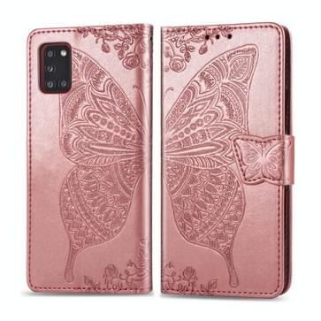 Voor Galaxy A31 Butterfly Love Flower Reliëf Horizontale Flip Lederen Case met beugel / kaartslot / Portemonnee / Lanyard (Rose Gold)
