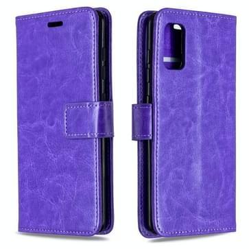 Voor Galaxy A41 Crazy Horse Texture Horizontale Flip Lederen case met Holder & Card Slots & Wallet & Photo Frame(Paars)