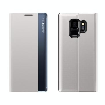 Voor Galaxy S9 Plus Side Display Magnetic Horizontal Flip Plain Texture Cloth + PC Case met Holder & Sleep / Wake-up Function(Zilver)
