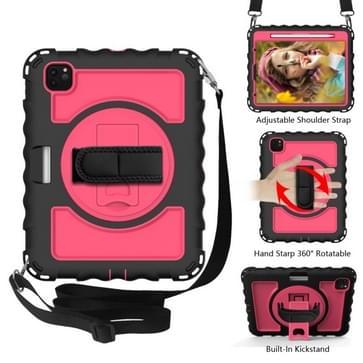 Voor iPad Pro 11 (2020) PC + Siliconen Schokbestendige combinatiecase met 360 graden roterende houder & handvat (Zwart+Hot Pink)