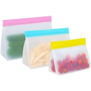 2 Sets PEVA Food Bags Hergebruik drie-dimensionale verdikte opslag verzegelde vershoudende zakken  random color delivery