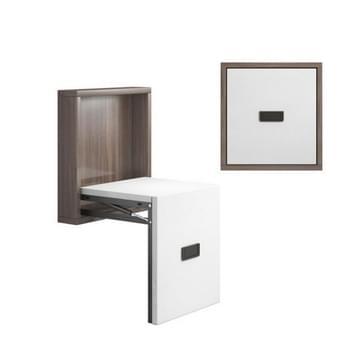 Eenvoudige houten opvouwbare muur gemonteerde Home Footstool Gangpad Onzichtbare Schoen Kruk (Walnut Cabinet + Warm White Panel)