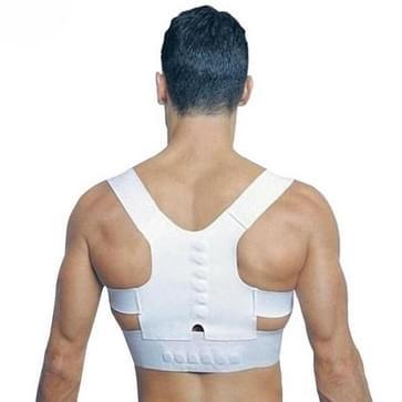 Magnetic Therapy Posture Corrector Brace Shoulder Back Support Belt for Men Women Adult Braces Supports Upper Correction Corset  Size:L(White)